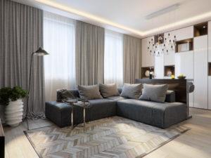 ソファとカーテンの色をそろえた部屋の画像