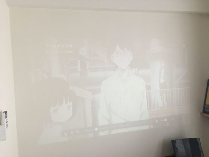 格安プロジェクター 明るい部屋での使用時の写真