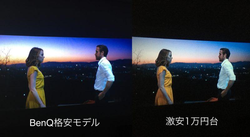 プロジェクター「BenQ格安モデル」と「激安1万円台」の画質比較